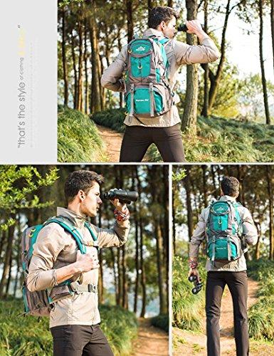 50L Rucksack Reise Outdoor Rucksack Wasserdicht / Trekking Rucksack / Camping Rucksack / Packbar Langlebig zum Klettern, Bergsteigen, Angeln, Camping, Radfahren Reisen Blau 50L