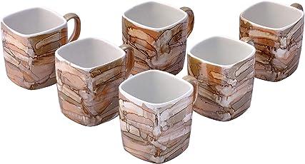 Farkrafts Ceramic Golden Brown Gloss Finish Tea and Coffee Cups (Set of 6)
