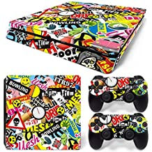46 North Design Ps4 Slim Playstation 4 Slim Pegatinas De La Consola Graffiti + 2 Pegatinas Del Controlador