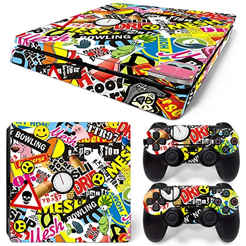 46 North Design PS4 Slim Vinyl Decal Autocollant Skin Sticker Graffiti Collage Pour Playstation 4 Slim console + 2 Dualshock Manette Set Autocollant