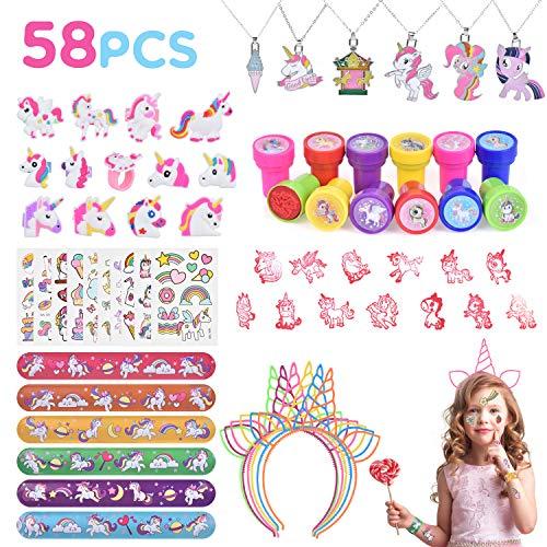 Ulikey 58 Pezzi Gadget Unicorno, Bomboniere Festa Compleanno Unicorno Bambina, Unicorno Party Unicorno Portachiavi, Tatuaggi Temporanei Bambini Unicorno Anelli, Unicorno Festa Compleanno Regalo