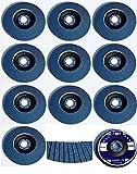 20 Stück INOX Fächerscheiben – Ø 125 mm – MIX-Paket - Gemischte Körnung je 5 x Korn 40/60/80/120 – blau/INOX Fächerscheiben/Schleifmopteller/Fächerschleifscheibe