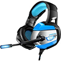 ONIKUMA Micro Casque Gaming - Casque Gamer pour PS4 Xbox One Nintendo Switch (Audio) PC, Haute Qualité & Son 7.1 Surround + Isolation + Fortes Basses, Microphone Anti-Bruit[Playstation]