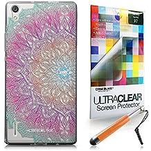 CASEiLIKE Arte de la mandala 2090 Bumper Prima Híbrido Duro Protección Case Cover Funda Cascara for Huawei Ascend P7 +Protector de Pantalla +Plumas Stylus retráctil (Color al azar)