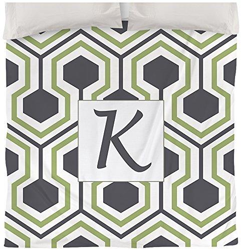 Manuelle holzverarbeiter & Weavers Bettbezug, King, Monogramm Buchstabe K, grau Honeycomb (Sets Grau Bettwäsche Tröster)