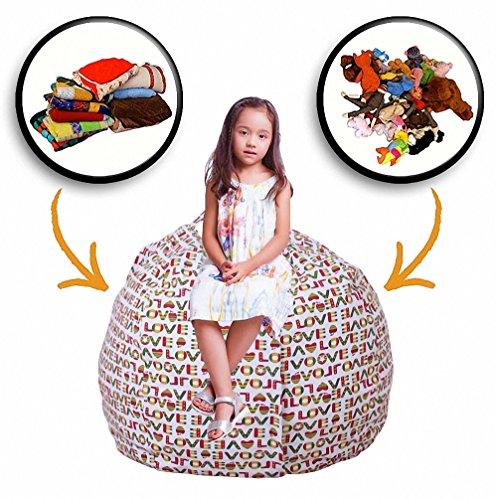 tovto Jumbo Stofftier Aufbewahrung Sitzsack-Farbe–Spielzeug-Organizer und Aufbewahrung, Rot,...