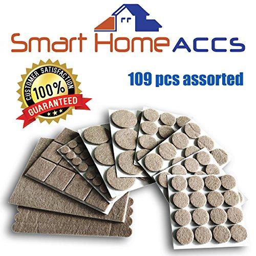 Smart Home Accs Almohadillas de Fieltro para pies de Muebles 109 pcs Varios Adhesivos Muebles Almohadillas