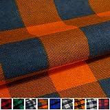 EDGE Flanell Baumwollstoff Karo 1lfm 150cm breit - orange