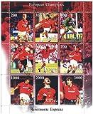 European Champions League vincitori stamp Manchester United Football per collezionisti con 9 francobolli - Con il kit di sponsorizzazione Sharp / 1999