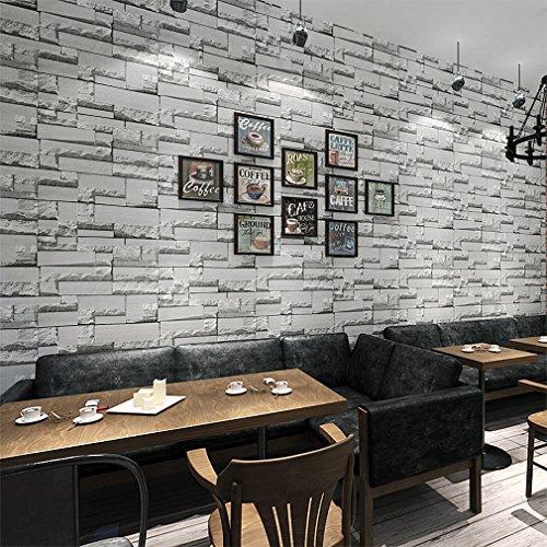 KINLO® Tapeten Stein 3D 10M X 0.53M Dunkle Grau TOP Steintapete Vlies Modern  FürSchlafzimmer/ Wohn.