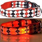 LEUCHTENDES Hunde-Halsband, Größe: S (35-43cm / 2,5cm breit), ROT KARO-Design, mit Klickverschluß. LED's leuchten und blinken im Dunkeln.