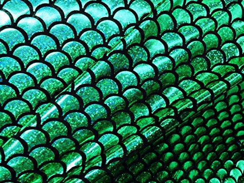 Meerjungfrau-Jerseystoff, mit Fischschwanz-Muster–Elastan–2-Wege-Stretch-Material–150cm breit–7 Farben ()