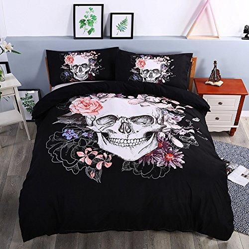 3D Bedruckte Geheimnisvolle Watercolor Flower Skull Bettdecke Bettbezug Kissenbezug Spannbettlaken Bettwäsche Sets enthalten 1Bettbezug 2Kissenbezüge, totenkopf, King:Duvet Cover240x220 cm