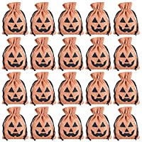 Feelava Halloween Pumpkin Candy Bag 20 Pcs, Kids Trick Or Treat Bag Funny Storage Bag Pouch Drawstring Goodies Bag Gift Bag for Children Halloween Party Favors Decoration