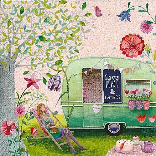 Quadratische Postkarte Mila Marquis * Frau mit Liegestuhl & Wohnwagen