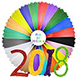 3D Printer Filament Refills,1.75mm PLA,for 3D Printing Pens & 3D Printers,Pack of 20 Different Colors including 4 Glow-in-The-Dark colors
