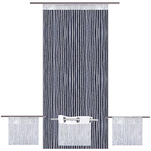 Bestlivings Fadenvorhang Lurex-Optik weiß, Auswahl: Ösen 140 x 250 cm
