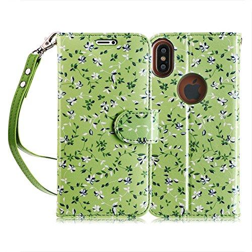 fyy iPhone X Case, [RFID-blockierender Wallet Case] Handgefertigt Flip Folio Tasche [Kickstand Funktion] mit ID und Kreditkarte Displayschutzfolie für Apple iPhone X Edition (2017), C-Pattern-66