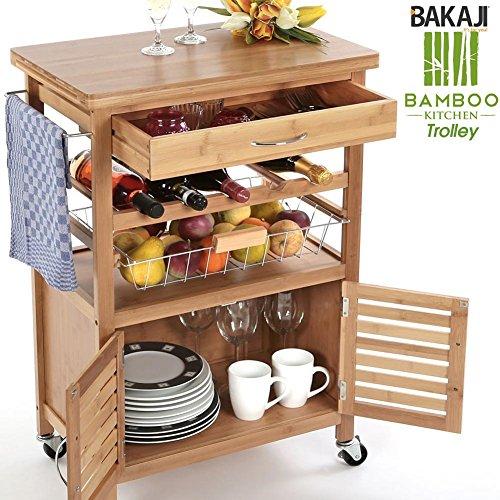 Bakaji carrello cucina in legno di bambù bamboo con portabottiglie, cassetto portaposate, cestello acciaio e 2 ante armadietto per organizzazione e sistemazione, ripiano top in legno bambu duro e resistente, tavolino da portata servizio multiuso con 4 ruote girevoli