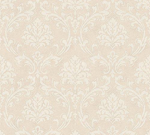 A.S. Création Vliestapete New Look Tapete mit Ornamenten barock 10,05 m x 0,53 m beige creme metallic Made in Germany 335392 33539-2