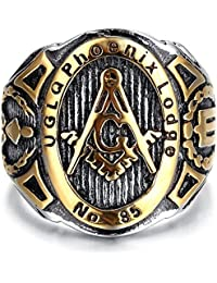 K Mega Jewelry Mens Stainless Steel Ring, Vintage, Biker, Gold, Black, Masonic KR2042