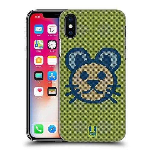 Head Case Designs Panda Croci Cucite Cover Retro Rigida per Apple iPhone X Gatto