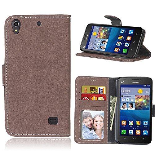 Huawei Ascend G620s Coque Lanyard Dragonne Portefeuille étui en cuir PU,Huawei Ascend G620s Flip magnétique Cas avec support Béquille de carte,Cozy Hut Créatif Simple Book Style [Anti-scratch] Retro Matte Motif Prime Ultra Slim Fit Wallet Protecteur Étui Coque Flip PU Cuir Portefeuille Etui Housse Coque Coquille avec Stand et les fentes de carte de crédit pour Huawei Ascend G620s - Brown Matte