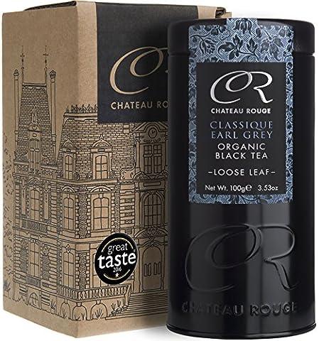 Chateau Rouge - Earl Grey Classique, Thé Noir BIO en Vrac, Boîte 100g