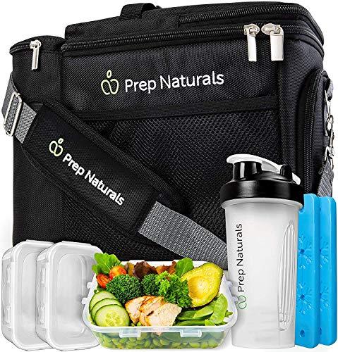 Bolsa Isotérmica Fiambrera con 10 Lunch Box, Cubiertos y Servilletas de Prep Naturals | Porta Alimentos para Bento Box, Táper, Cajas de Almuerzo | Aptos para Lavavajillas, Microondas y Congelador