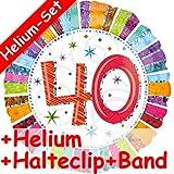 Folienballon Set * ZAHL 40 + HELIUM FÜLLUNG + HALTE CLIP + BAND * zum 40.Geburtstag oder Party // Gefüllt mit Ballongas // Deko Folien Ballon Luftballon Helium vierzig Jahre