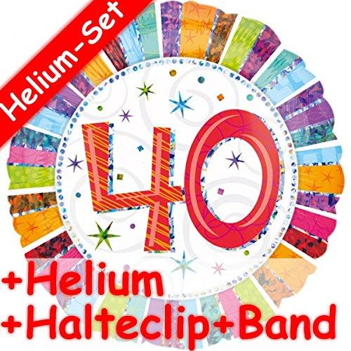 AHL 40 + HELIUM FÜLLUNG + HALTE CLIP + BAND * zum 40.Geburtstag oder Party // Gefüllt mit Ballongas // Deko Folien Ballon Luftballon Helium vierzig Jahre ()