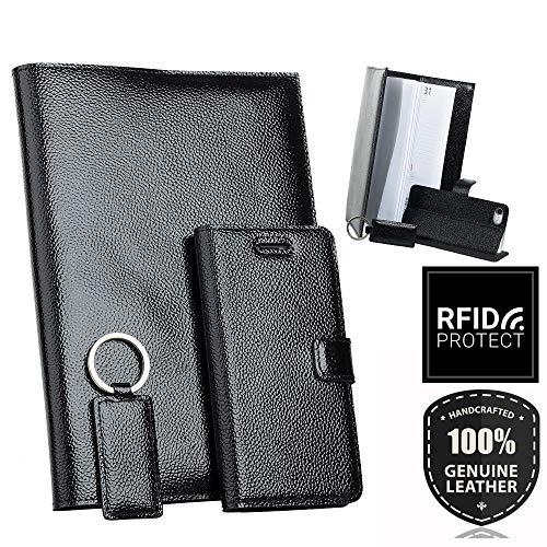 SURAZO Leder Geschenkset - Handy Schutzhülle, Kalender, Schlüsselring aus Echtesleder Ferro Farbe Schwarz für Samsung Galaxy Note 8 (N950)