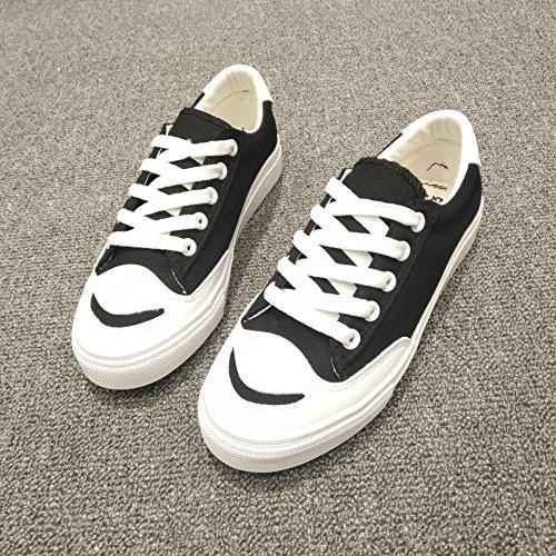 Damen / Frauen lächeln beiläufige flache Schuhe Art- und Weisesegeltuch schnüren sich oben Schuhe für Frühling und Sommer drei Farben für das Wählen Black
