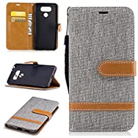 For LG G6 Case [with Free Screen Protector], Qimmortal(TM) Premium Soft PU Leather Cowboy Cloth Wallet Cover Case with [Kickstand] Credit Card ID Slot Holder Magnetic Closure Design Folio Flip Protective Slim Skin Cover For LG G6(Gray)