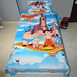 Original Chhota Bheem kids 100% Cotton Single Bedsheet with 1 pillow cover - Sky Blue