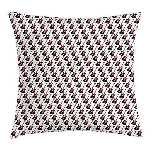 VICKKY Guitar Throw Pillow Cushion Cover, Repeating Graphic Electric Guitars in Diagonal Order Rock Music Band Songs, Decorative Square Accent Pillow Case, 18 X 18 inches, Red Black White