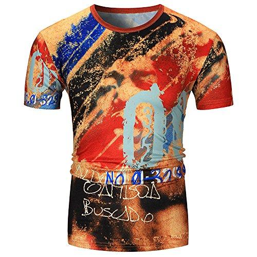 Leedy maglietta a maniche corte con stampa 3d a olio di personalità della personalità estiva da uomo