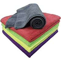 SOFTSPUN Microfiber Cloth - 5 pcs - 40x40 cms - 340 GSM Multi-Color - Thick Lint & Streak-Free Multipurpose Cloths…