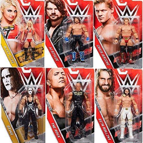 (All 6)Komplettes Set Mit WWE Basic-serie Aktion Figuren 68.5 All 6 - AJ Stile, Alexa Bliss, Chris Jericho, The Rock, Seth Rollins, Sting