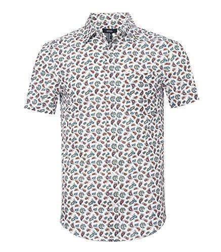 Nutexrol Herren Kurzarm Hemd mit Ananas Obst Aufdruck für Party Urlaub B-Weiß XX-Large
