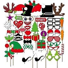 Veewon Natale Photo Booth Puntelli Xmas Party Favors Photo Booth Decorazioni, 50pcs kit fai da (Natale Puntelli Photo)