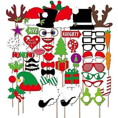 Veewon Christmas Photo Booth Props Xmas Party Favors Photobooth Decorations, 50pcs DIY Kit Photobooth Glasses (Natale Puntelli Photo)