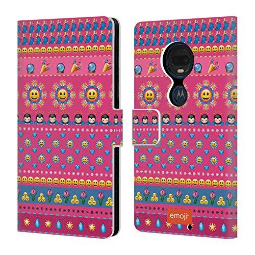 Head Case Designs Offizielle Emoji® Glücklich Gesichter Drucken Leder Brieftaschen Huelle kompatibel mit Motorola Moto G7 Plus