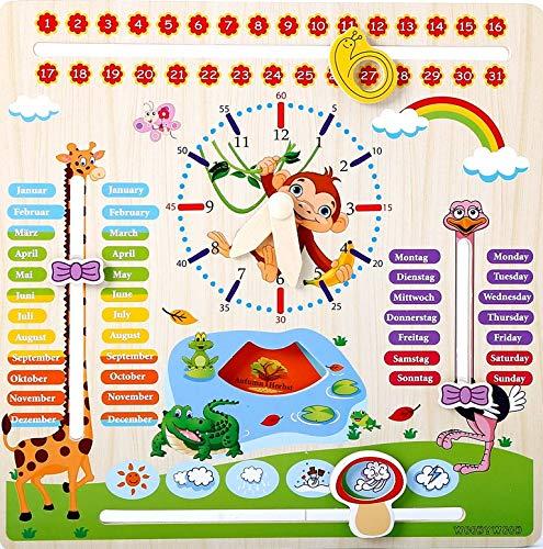 WoodyWood Kalenderuhr Kinder Lernuhr Holz Lernspielzeug 30X30cm zweisprachig