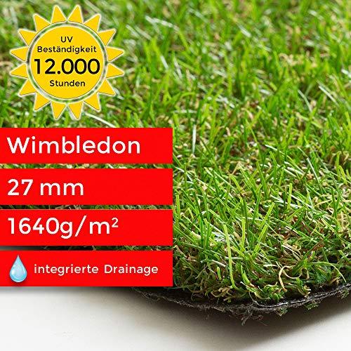 Steffensmeier Kunstrasen Rasenteppich Wimbledon Meterware | wasserdurchlässig für Balkon, Terrasse, Garten | UV-Garantie in Grün, Größe: 133x50 cm