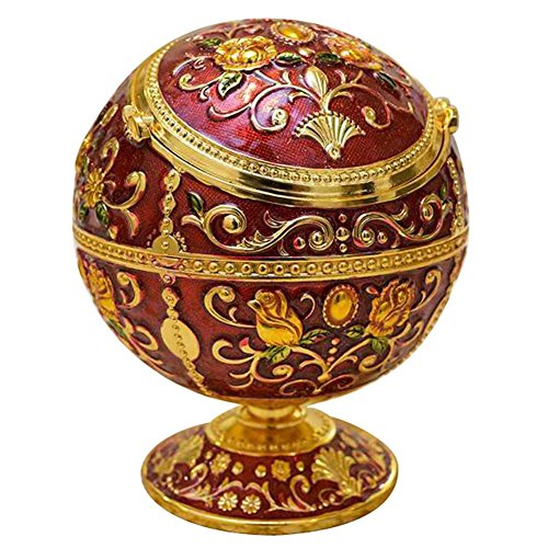 Purebesi Portable Ashtray Alloy Round Ball Ashtray European Classical Creative Personality Metal Personality Royal Globe with Lid Ashtray Diameter10cm high 12cm Bedroom Living Room Office Decorations