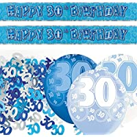 Unique BPWFA-4150 Glitz 30th Birthday Foil Banner Party Decoration Kit, Blue