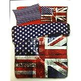 Daunex Juego de funda de edredón y funda de almohada, cama individual, diseño de la bandera