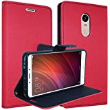 DMG Synthetic Leather Slim Wallet Flip Cover Case with Card Slots and Magnetic Closure for Xiaomi Redmi Note 4 (Magenta)