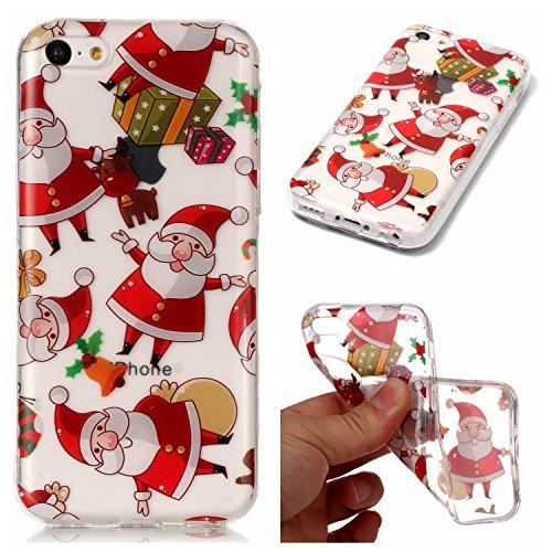 hone 5C Xmas Case, BONROY® iPhone 5C Silikon Hülle Tasche Handyhülle Weihnachtsthema [Weihnachtsmann, Elch] Schutzhülle Transparent TPU Gel Case Bumper Weiche Crystal Clear Tasche Hülle Case Cover Ultra Slim Kreative Schützende Clear Bumper Case Etui Schale Christmas Gift (Elch-brille)